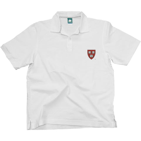 Harvard Crest Cotton Jersey Polo (White)