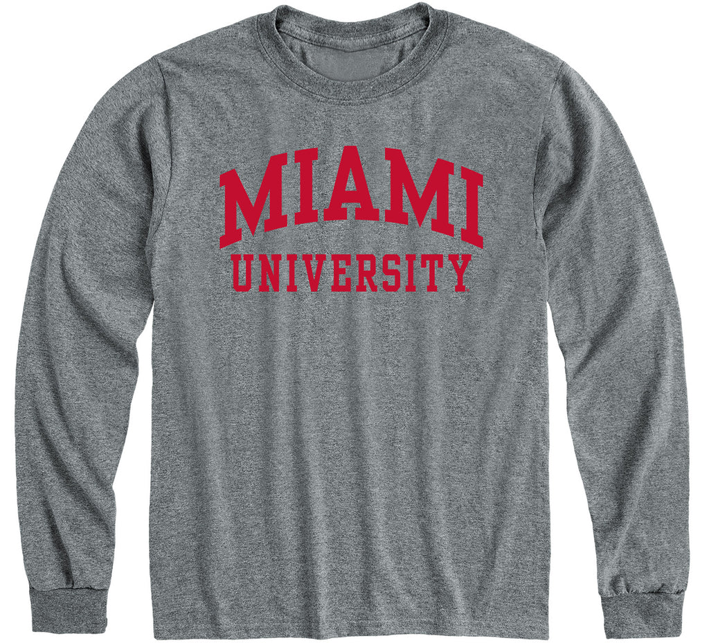 Miami University Classic Long Sleeve T-Shirt (Charcoal Grey)