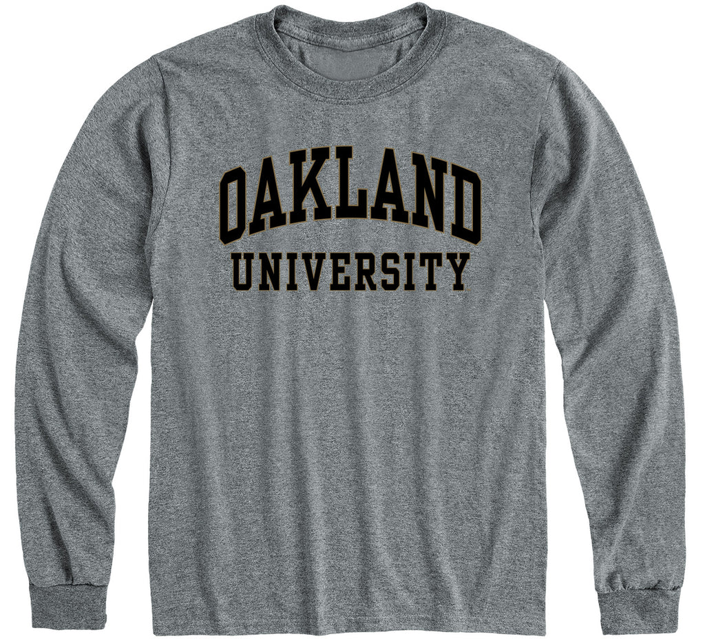 Oakland University Classic Long Sleeve T-Shirt (Charcoal Grey)