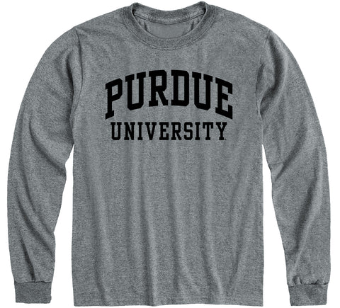 Purdue University Classic Long Sleeve T-Shirt (Charcoal Grey)