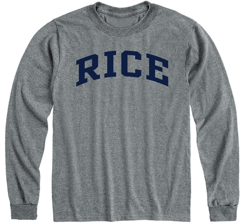 Rice University Classic Long Sleeve T-Shirt (Charcoal Grey)