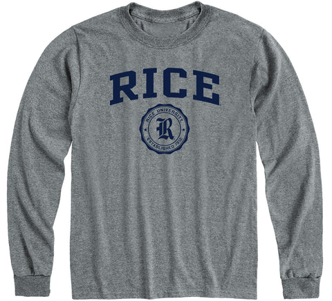 Rice University Heritage Long Sleeve T-Shirt (Charcoal Grey)