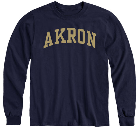 University of Akron Classic Long Sleeve T-Shirt (Navy)
