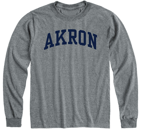 University of Akron Classic Long Sleeve T-Shirt (Charcoal Grey)