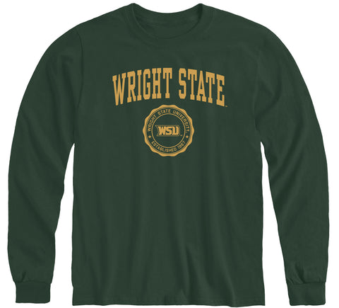 Wright State University Heritage Long Sleeve T-Shirt (Hunter Green)