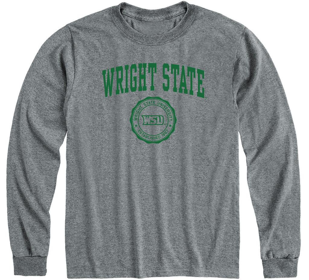 Wright State University Heritage Long Sleeve T-Shirt (Charcoal Grey)