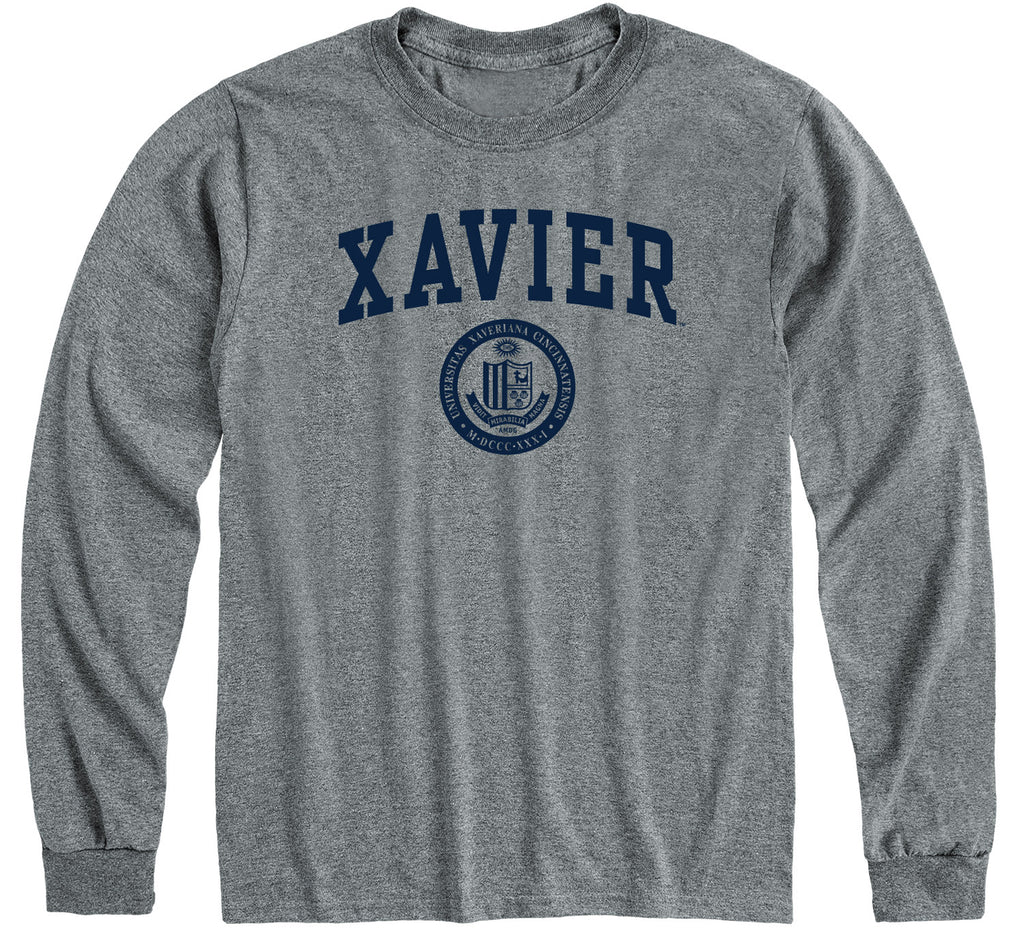 Xavier University Heritage Long Sleeve T-Shirt (Charcoal Grey)