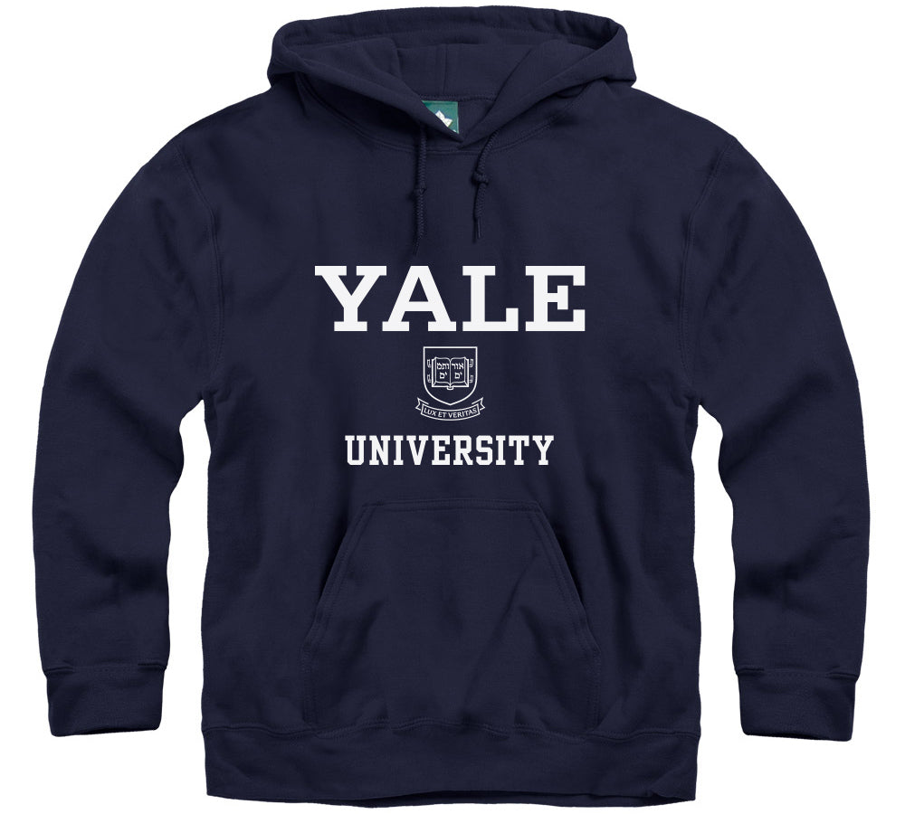 Yale Crest Hooded Sweatshirt (Navy)