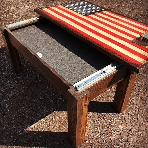 Distressed American Flag Coffee Table: Handmade Wood Flags, Gun Concealment Cabinets, Rustic And