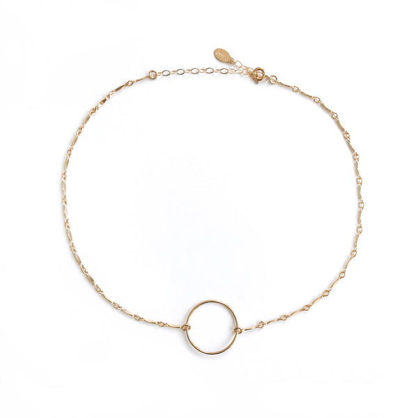 14k gold dainty choker with circle | eternity choker