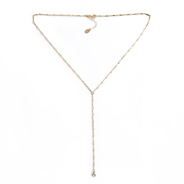 diamond lariat necklace on link chain