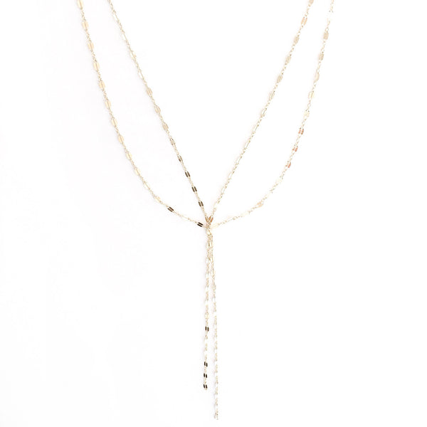 gold sparkle layered necklace | gold sequin double necklace