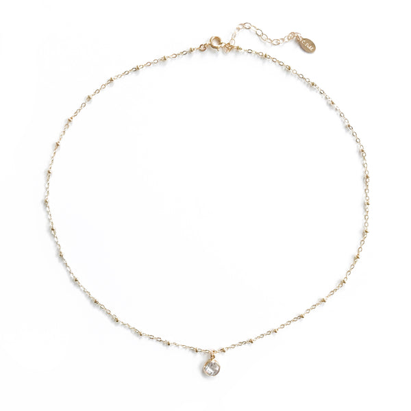 14k Gold Dot Satellite Chain Choker with Diamond