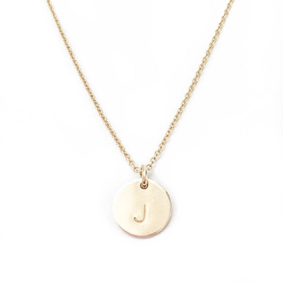 14k gold fill initial disc necklace