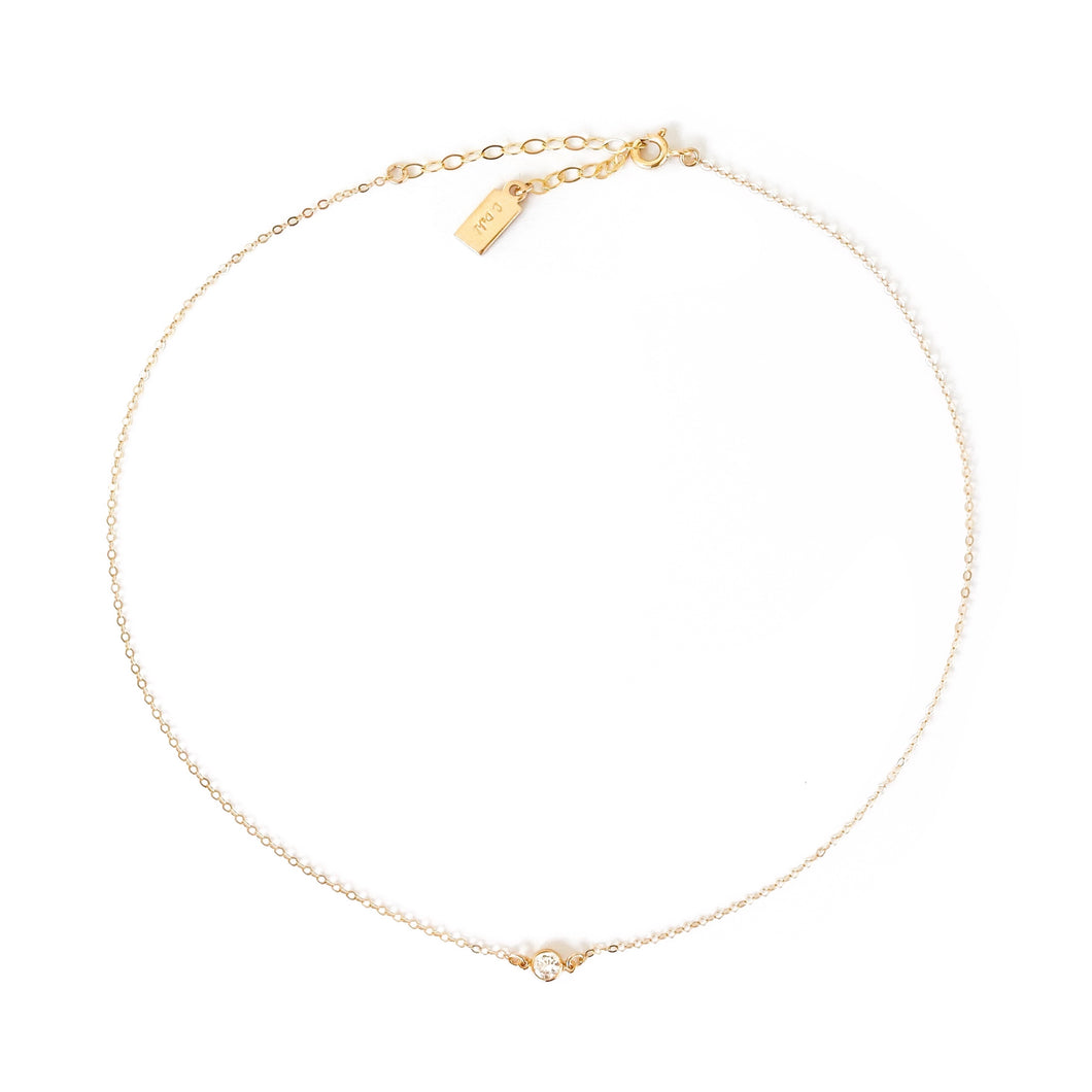 14K Dainty Diamond Choker Necklace