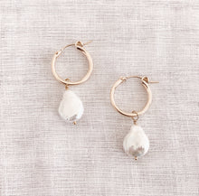 Load image into Gallery viewer, 14K GF Pearl Hoop Earrings - C.Dahl Jewelry | ShopCDahl