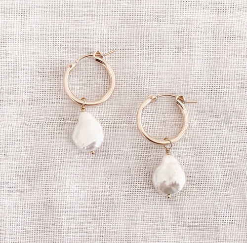 14K GF Pearl Hoop Earrings