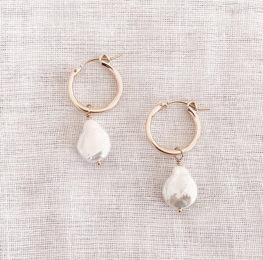 14K GF Pearl Hoop Earrings - C.Dahl Jewelry | ShopCDahl