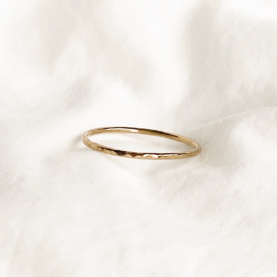 14K GF Dainty Hammered Band Ring - C.Dahl Jewelry | ShopCDahl