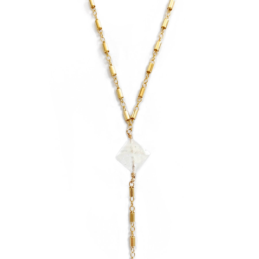 14K Malibu Moonstone Lariat Necklace