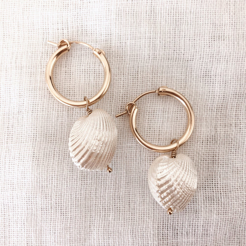 14K GF Shell Hoop Earrings - C.Dahl Jewelry | ShopCDahl