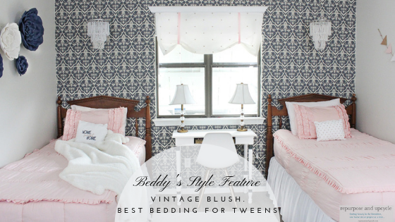 Beddy's Style Feature: Vintage Blush. Best bedding for TWEENS.