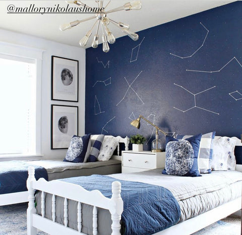 Two twin beds sit in front of a dark navy wall with star constellations. The beds both feature our Modern Gray Beddy's and navy accents.