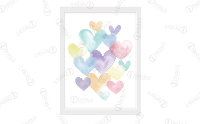 Watercolor Hearts Digital Artwork Download