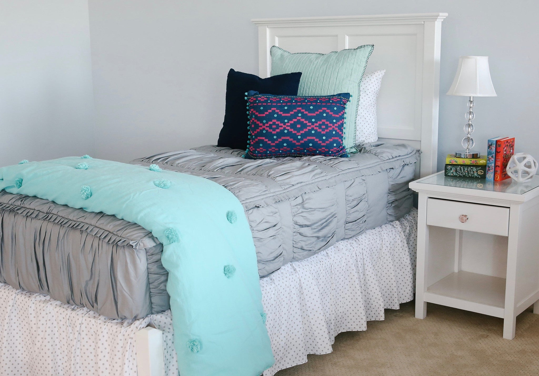 Blue polka dot bedding -  Gray Polka Dot Bed Skirt