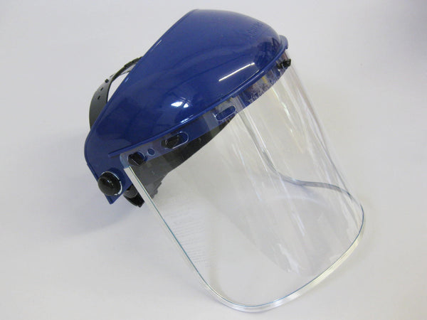 Headgear with Full Face Shield 8 x 16 x .040 Clear Polycarbonate Aluminum Bound Shield