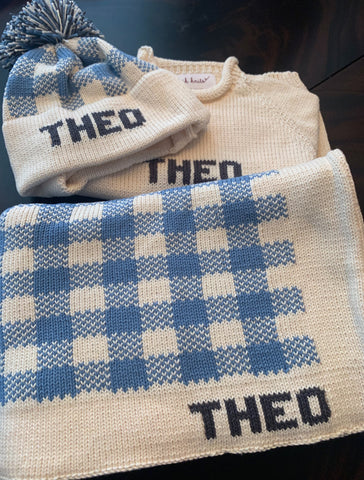 Custom Knit Plaid Stroller Blanket