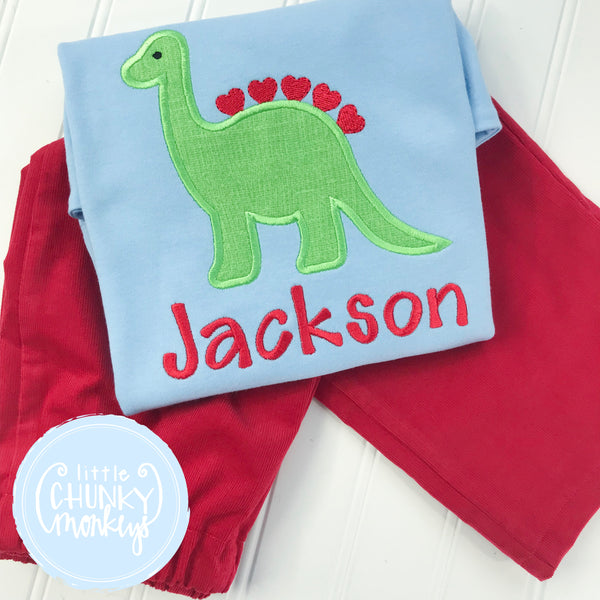 Boy Shirt - Boy Valentine Shirt - Valentine Dinosaur with Hearts on Light Blue Shirt