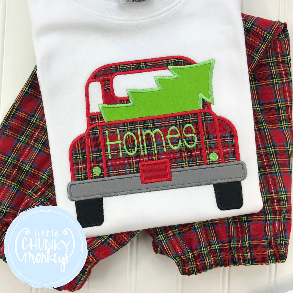 Boy Shirt -Applique Truck with Christmas Tree + Personalization