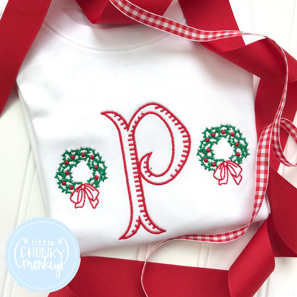 Boy Shirt -Circle Monogram with Mini Wreaths