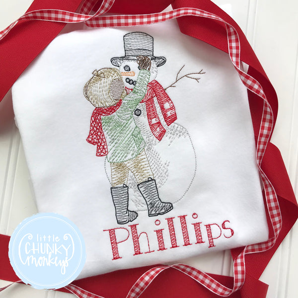 Boy Shirt - Vintage Stitch Boy Building Snowman