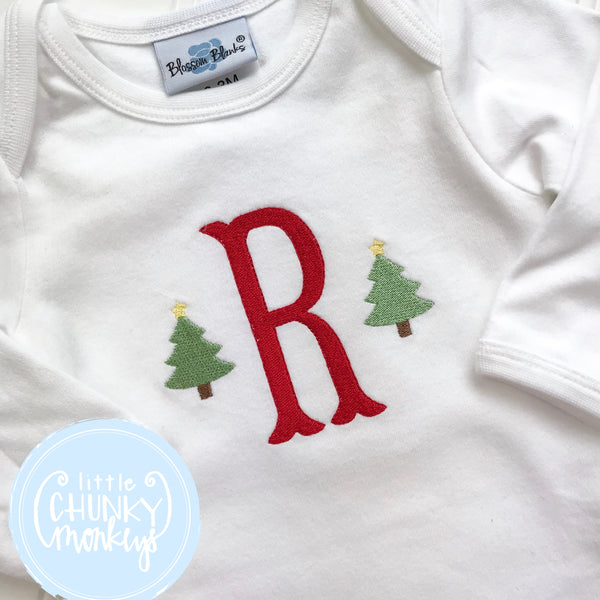 Boy Shirt - Stitched Name or Single Initial with Mini Christmas Trees