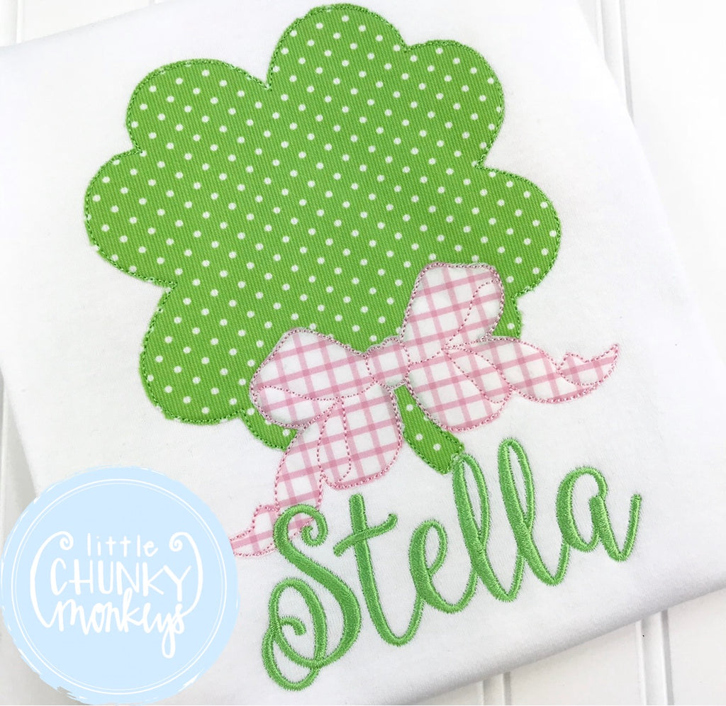 Girl Outfit - Girl St. Patrick's Day Shirt - St. Patrick's Day Clover with Bow + Personalization
