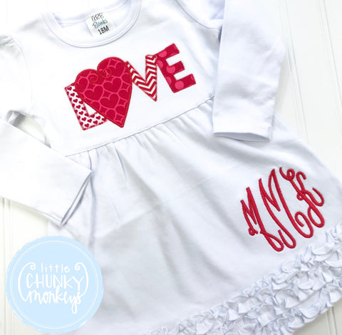 Girl Outfit - Girl Dress- Applique Love