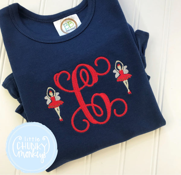 Girl Shirt- Personalized Sugar Plum Fairy on Navy