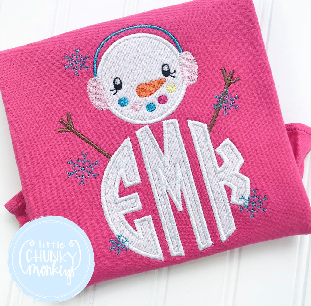 Girl Shirt - Applique Snowman with Circle Monogram