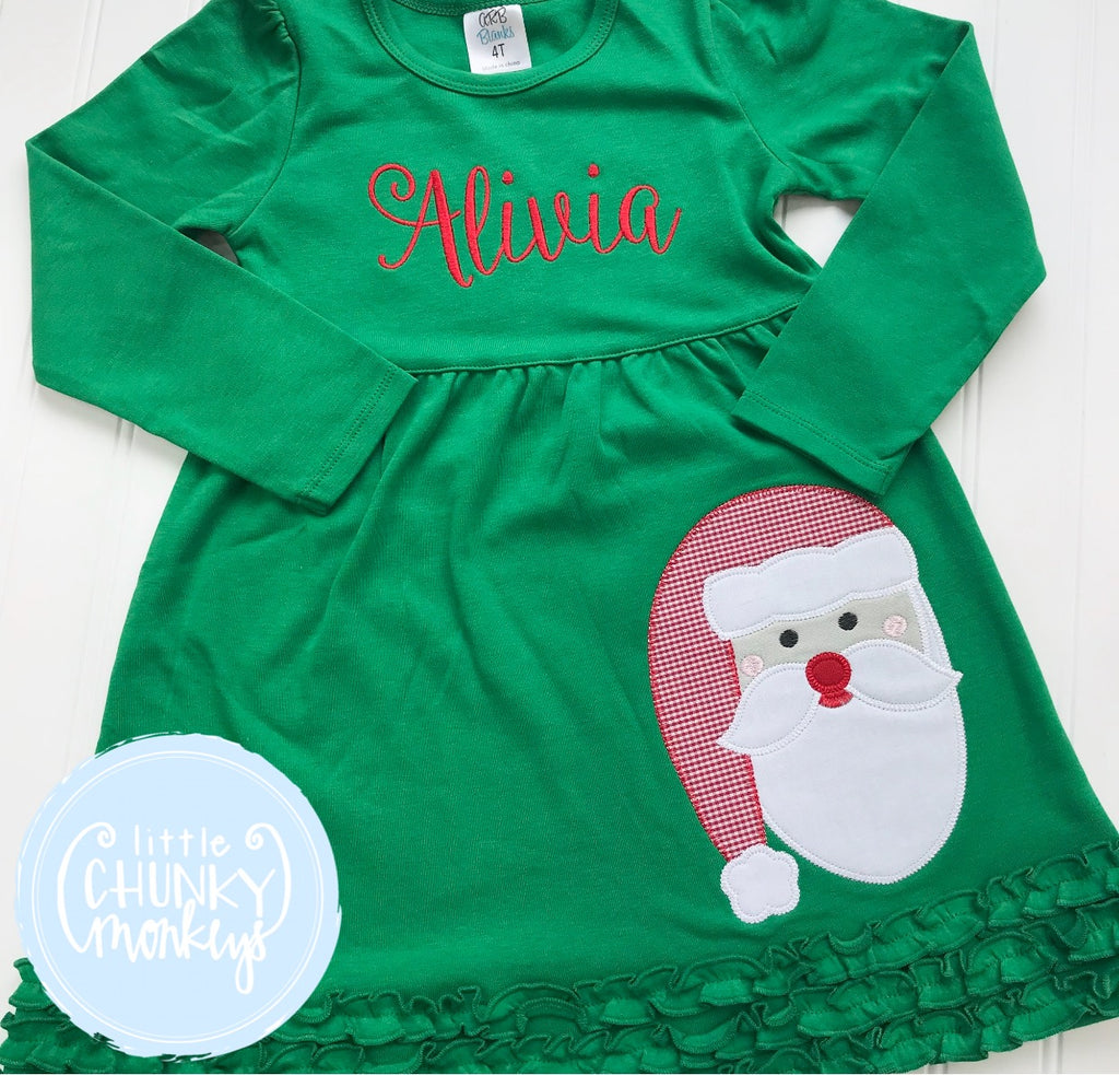 Girl Outfit - Christmas  Outfit - Applique Santa