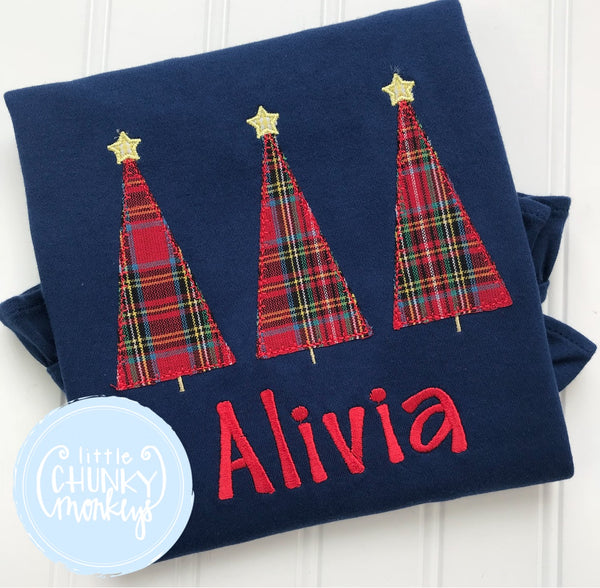 Girl Shirt - Tartan Tree Trio Shirt on Navy