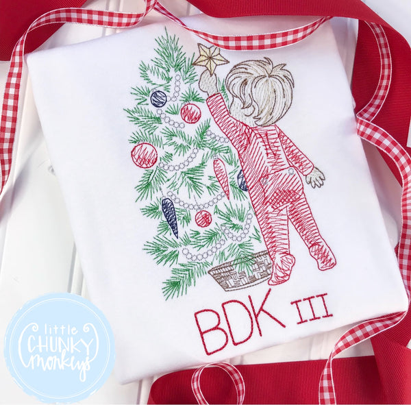 Boy Shirt - Boy Christmas Shirt - Vintage Boy Christmas Tree Shirt