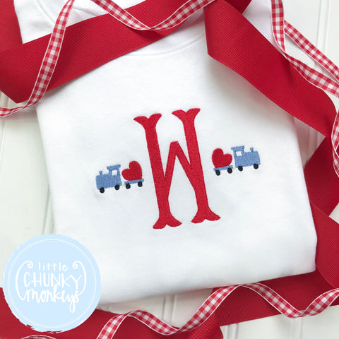 Boy Shirt - Valentine Shirt- Single Initial with Mini Trains carrying Hearts
