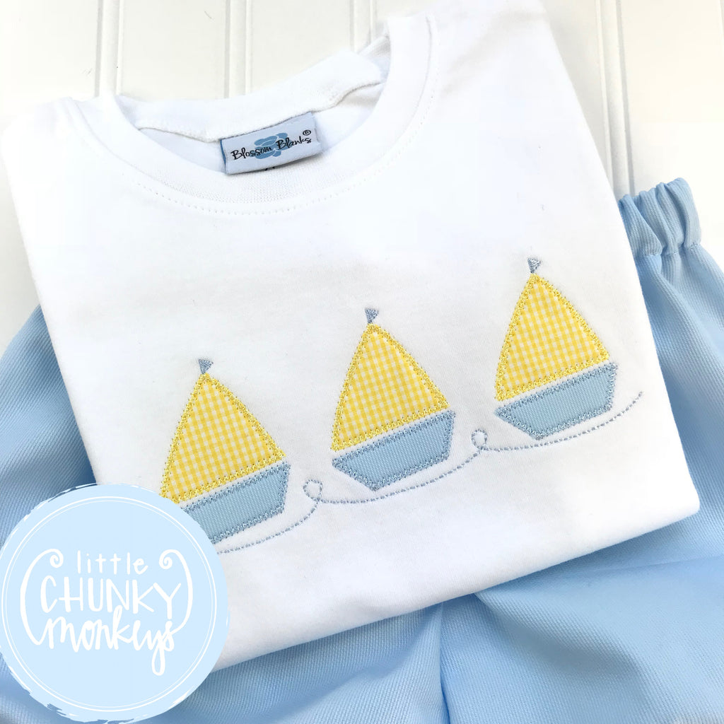 Boy Shirt - Sailboat Trio on White Tee