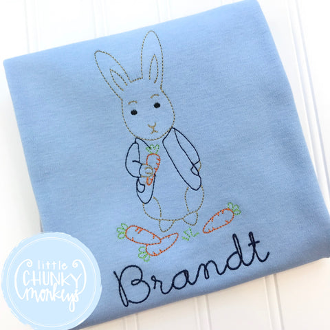 Boy Shirt - Boy Easter Shirt - Vintage Bunny with Carrots on Light Blue Shirt