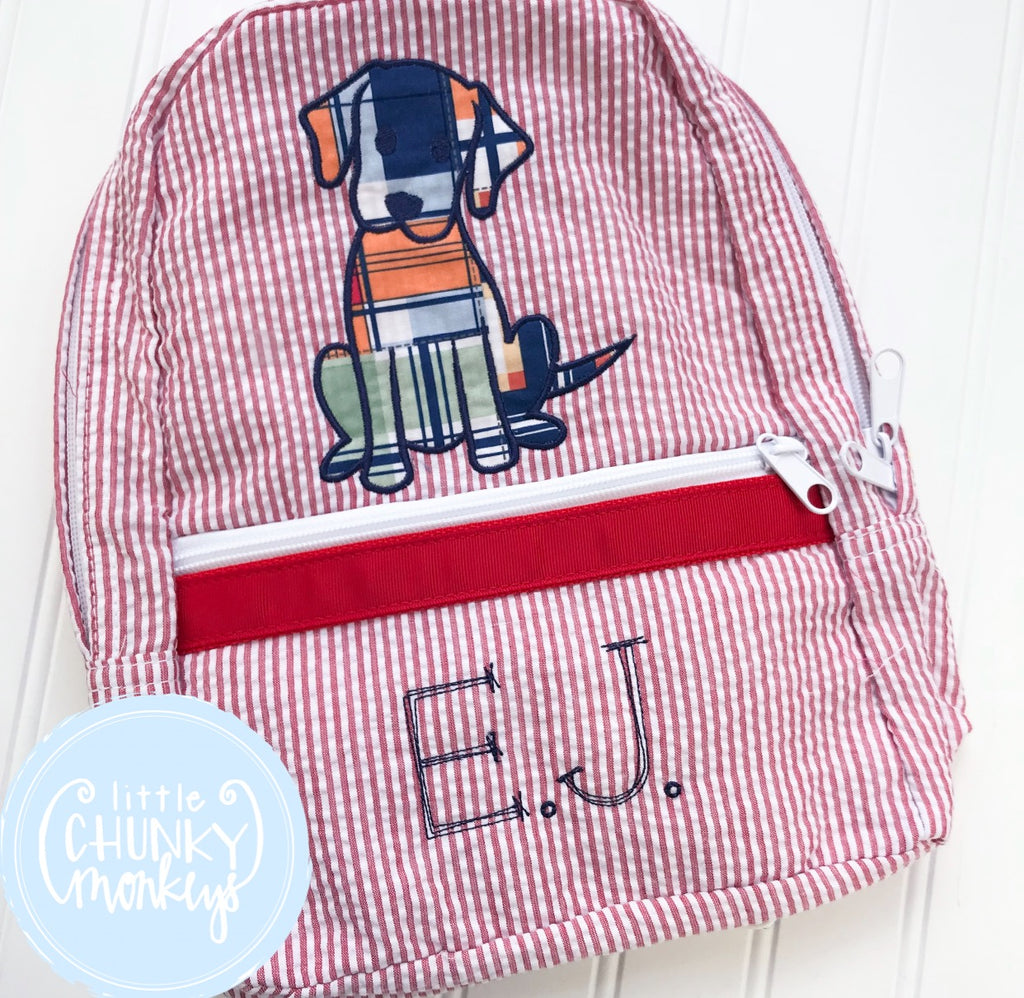 Backpack +Applique Dog on Red Seersucker