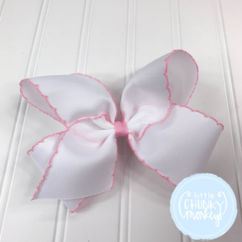 White with Light Pink Moonstitch Trim - Wee Ones