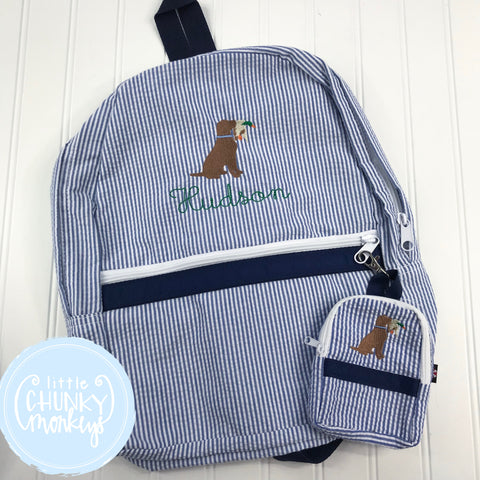 Backpack + Dog with Duck Design on Navy Seersucker