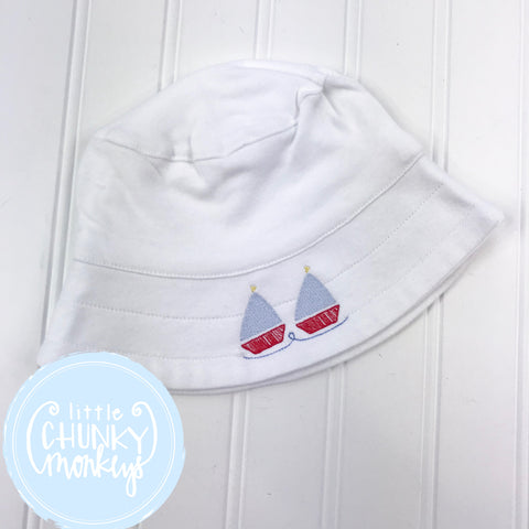 Boy Sun Hat with Stitched Sailboats